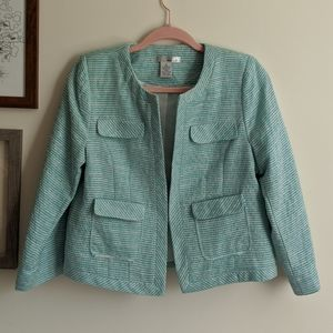 WD.NY Blue and Green Chic Striped Short Blazer